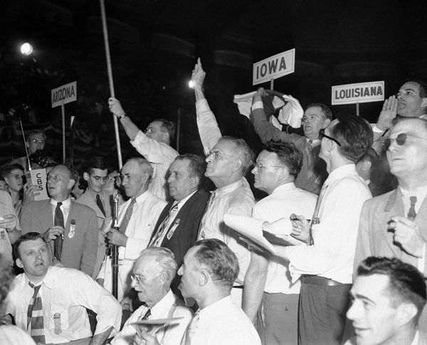 "<div class=""meta image-caption""><div class=""origin-logo origin-image none""><span>none</span></div><span class=""caption-text"">Alabama delegates to the Democratic National Convention wave and shout in Philadelphia, July 14, 1948 as they seek recognition from the chairman. (AP Photo)</span></div>"