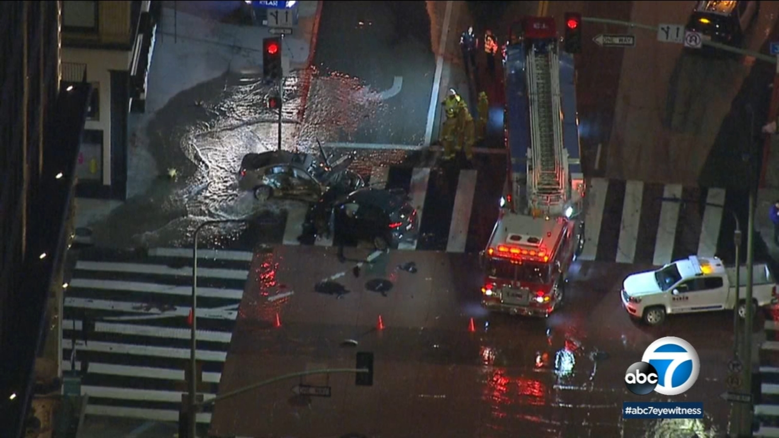 Car Crash Los Angeles: Downtown Los Angeles: 2-car Crash Shears Fire Hydrant