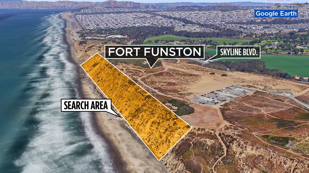 Google Map of Fort Funston where a partial slide is covering the beach.