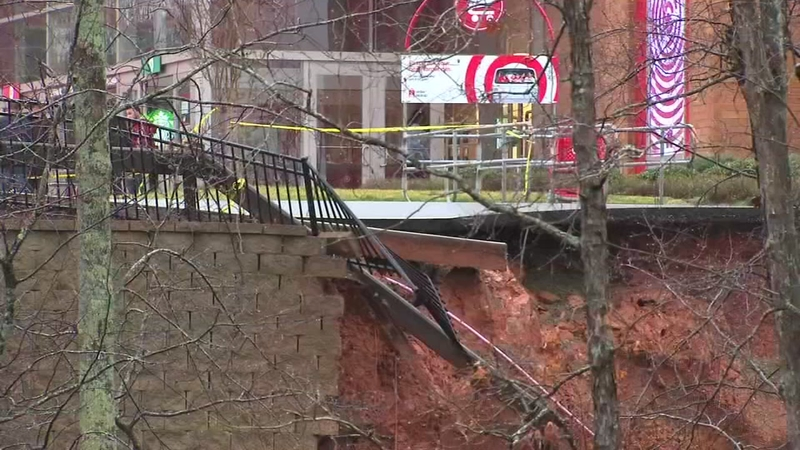 Retaining wall breaks down at Holly Springs Target