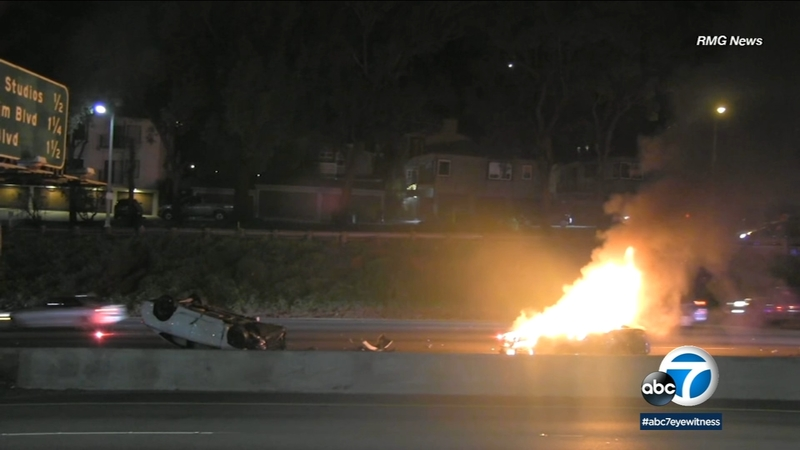 101 crash: Car flips, another bursts into flames in Hollywood Hills