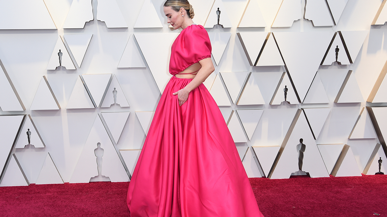 Sarah Paulson arrives at the Oscars on Sunday, Feb. 24, 2019, at the Dolby Theatre in Los Angeles.