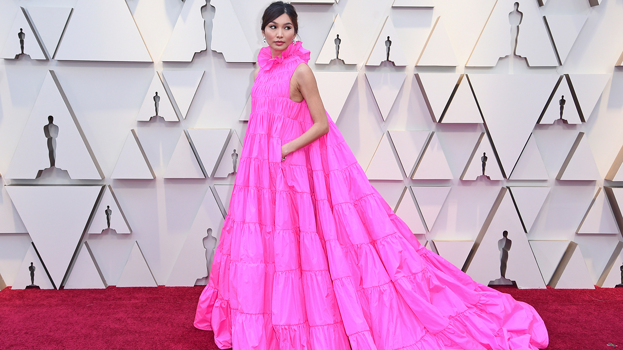 Gemma Chan arrives at the Oscars on Sunday, Feb. 24, 2019, at the Dolby Theatre in Los Angeles.
