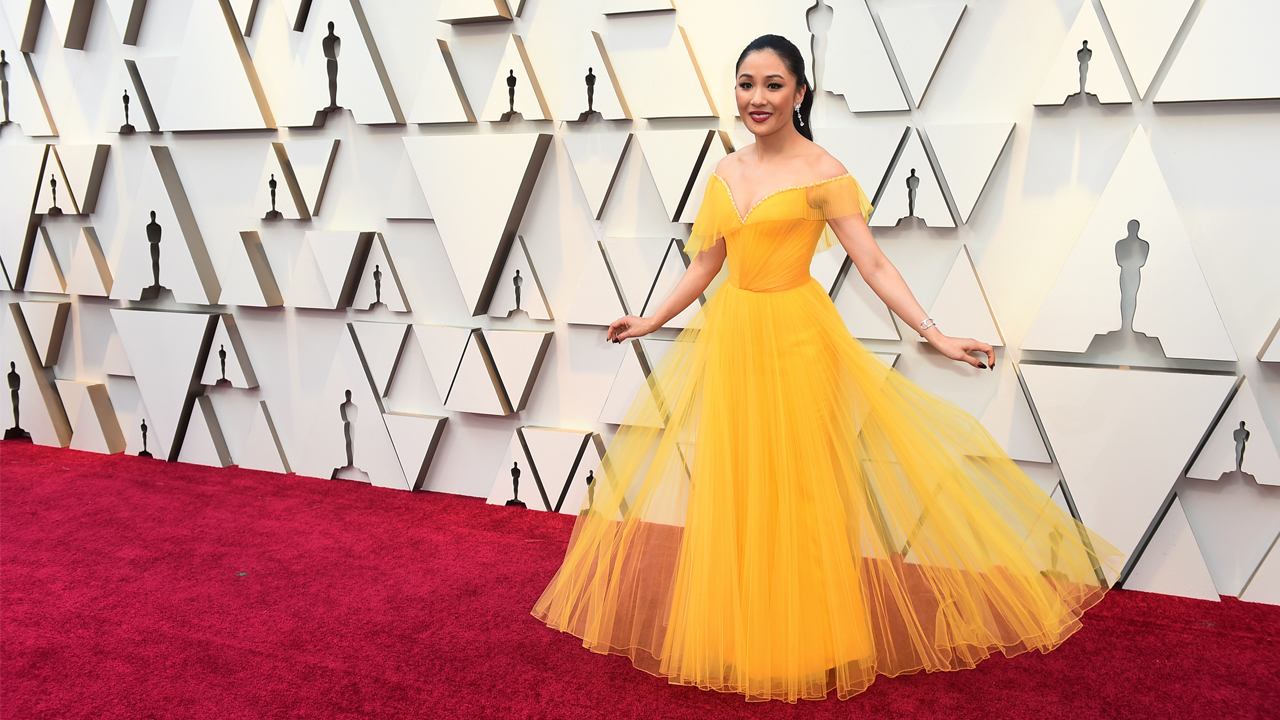 Constance Wu arrives at the Oscars on Sunday, Feb. 24, 2019, at the Dolby Theatre in Los Angeles.
