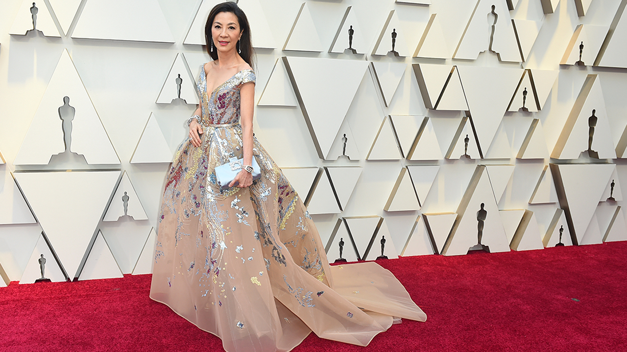 Michelle Yeoh arrives at the Oscars on Sunday, Feb. 24, 2019, at the Dolby Theatre in Los Angeles.