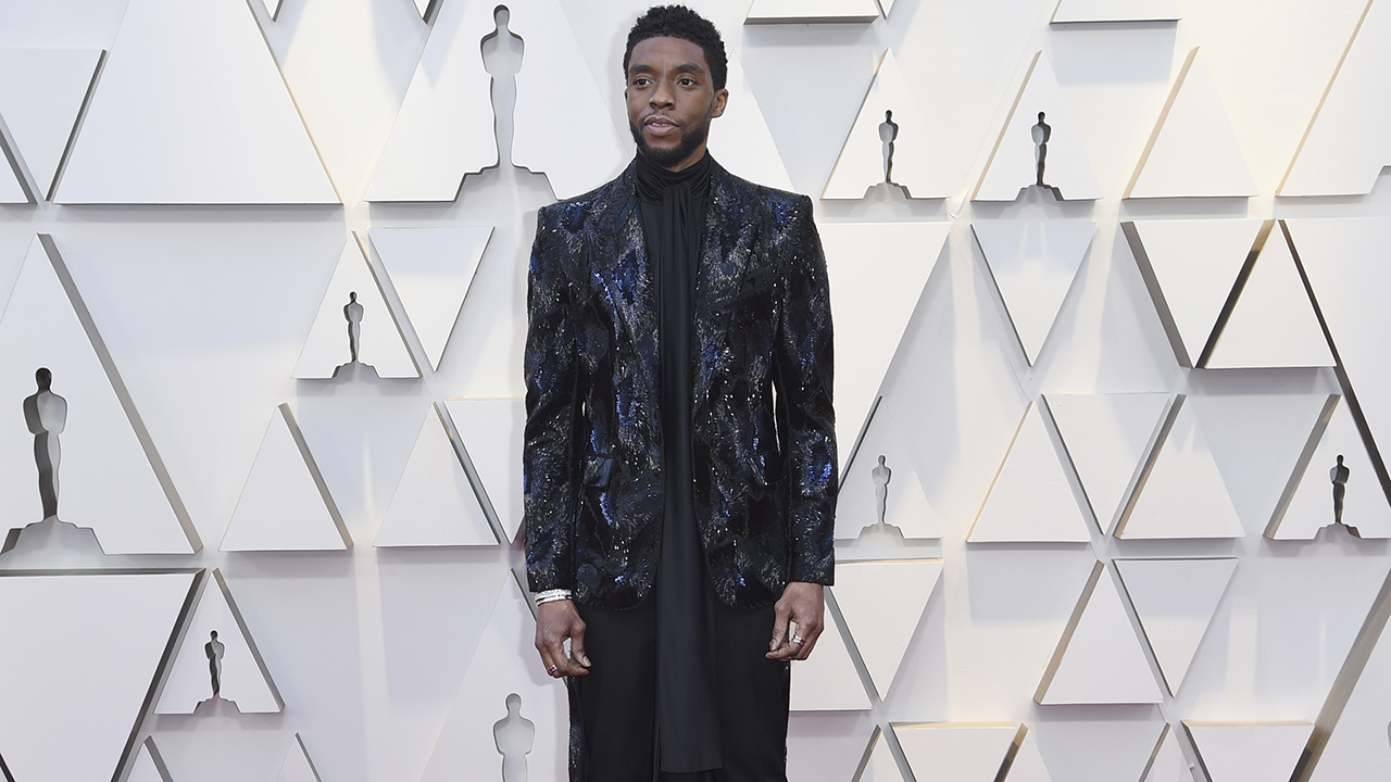 Chadwick Boseman arrives at the Oscars on Sunday, Feb. 24, 2019, at the Dolby Theatre in Los Angeles.