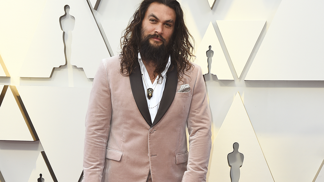 Jason Momoa arrives at the Oscars on Sunday, Feb. 24, 2019, at the Dolby Theatre in Los Angeles.