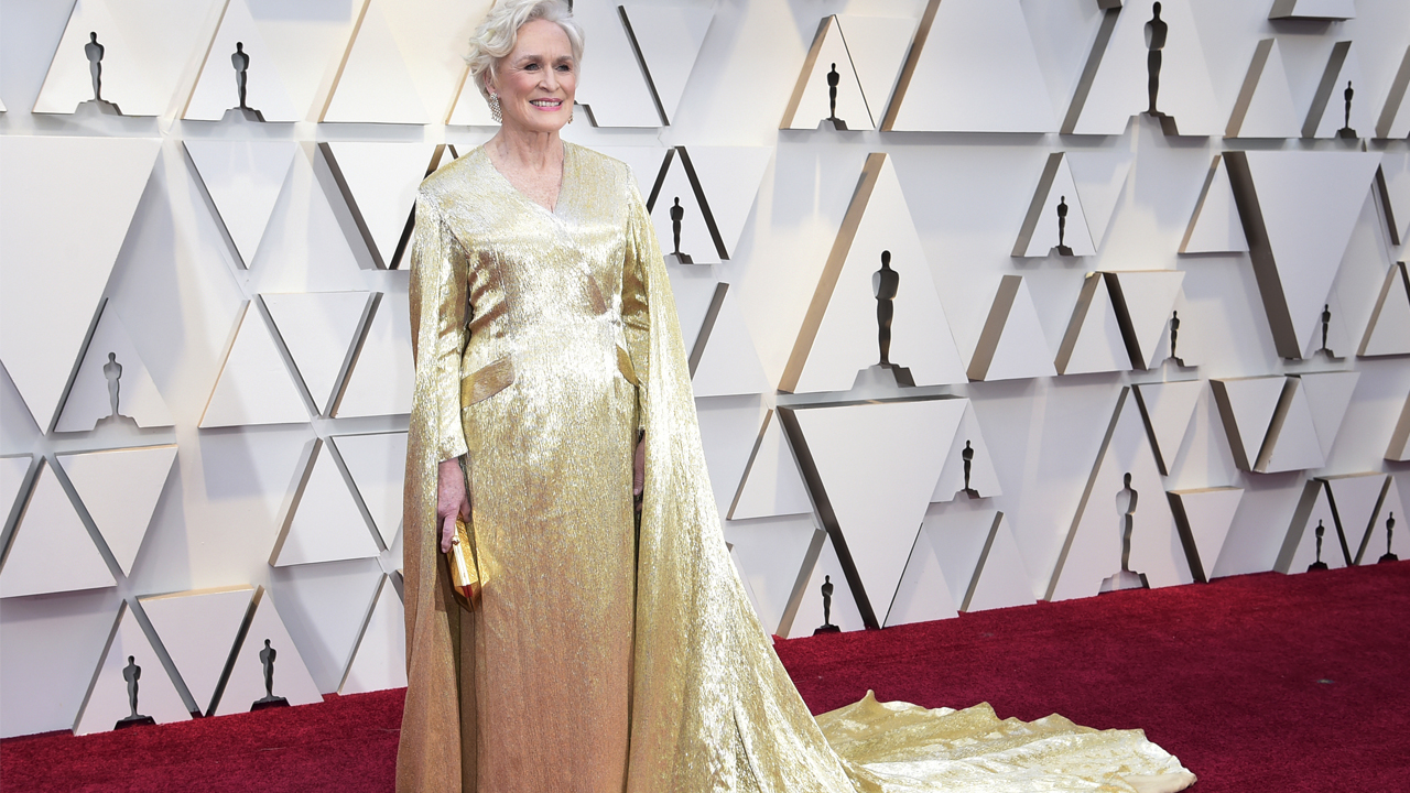 Glenn Close arrives at the Oscars on Sunday, Feb. 24, 2019, at the Dolby Theatre in Los Angeles.