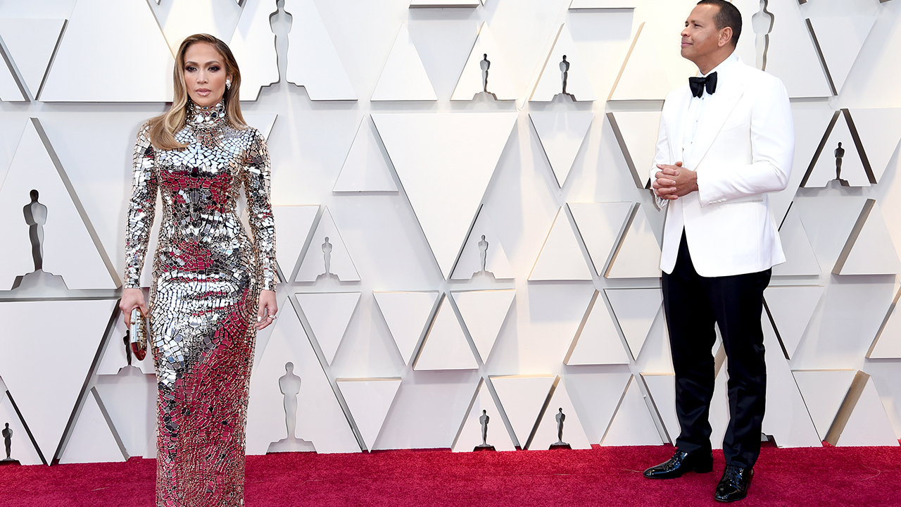 Jennifer Lopez, left, and Alex Rodriguez arrive at the Oscars on Sunday, Feb. 24, 2019, at the Dolby Theatre in Los Angeles.