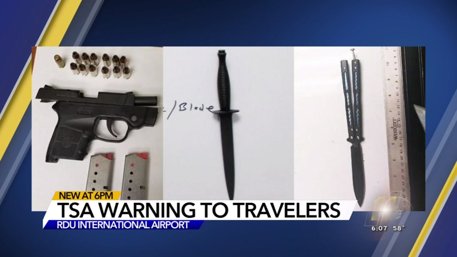 Firearm Knives Confiscated At Rdu Security Checkpoints Abc11com