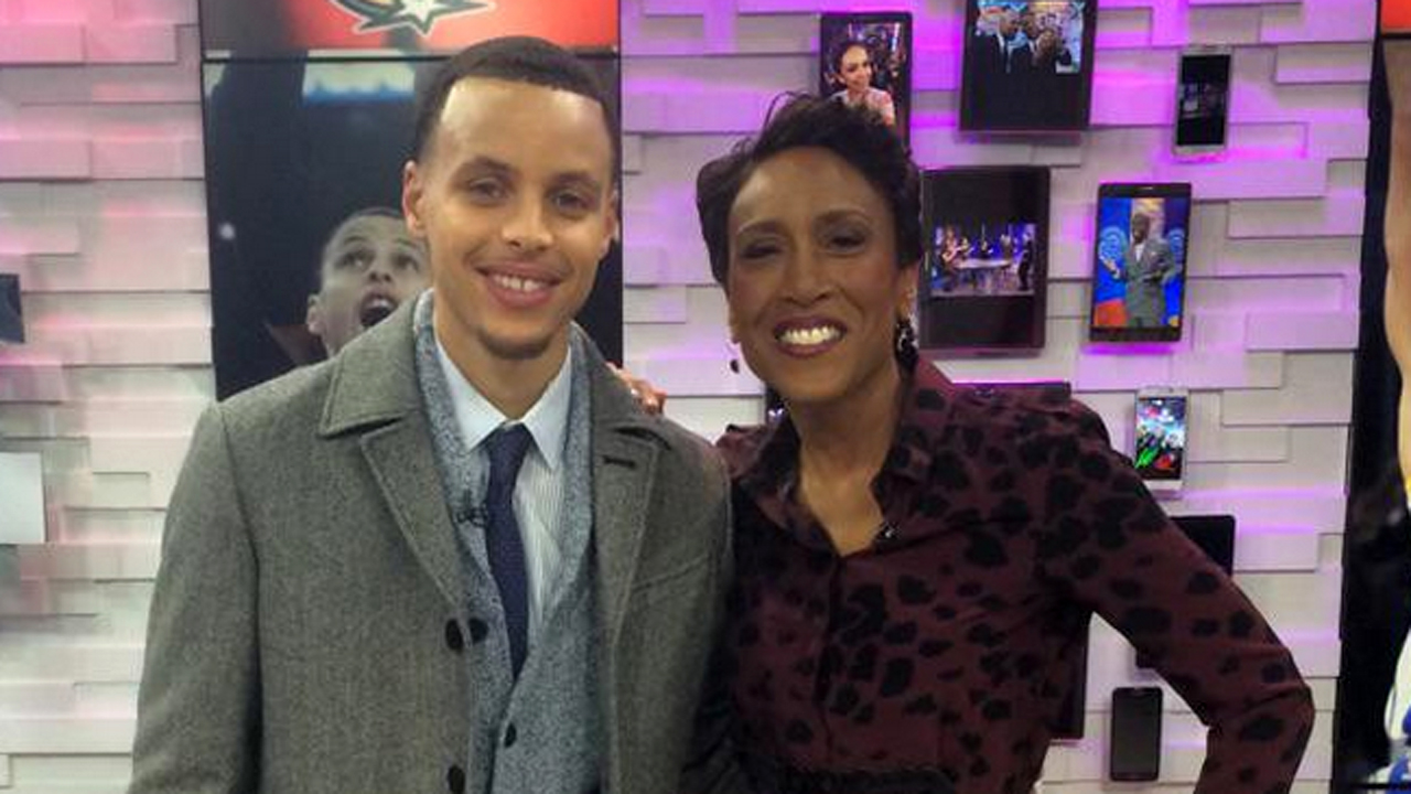 Golden State Warriors Guard Stephen Curry and GMA's Robin Roberts.