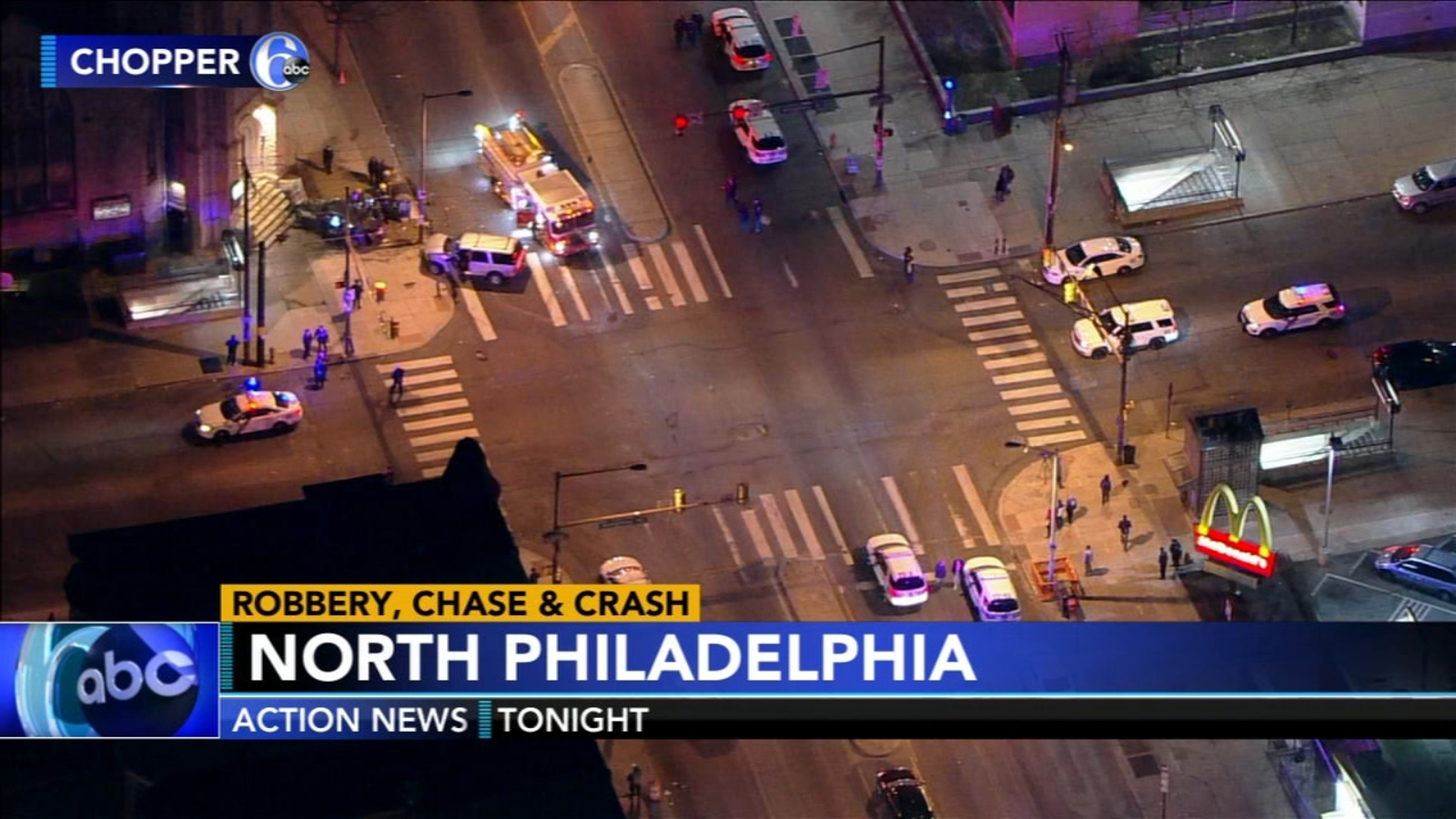 Woman struck on church steps during pursuit of robbery suspects in Philly