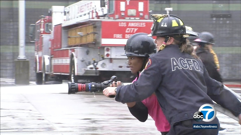 Teen girls learn what it takes to be an LAFD firefighter