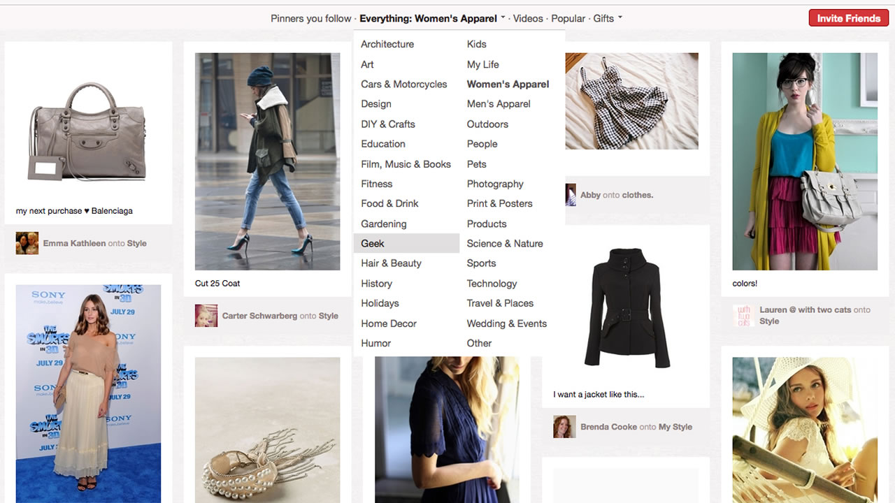 This screen shot shows a page of women's products from Pinterest.