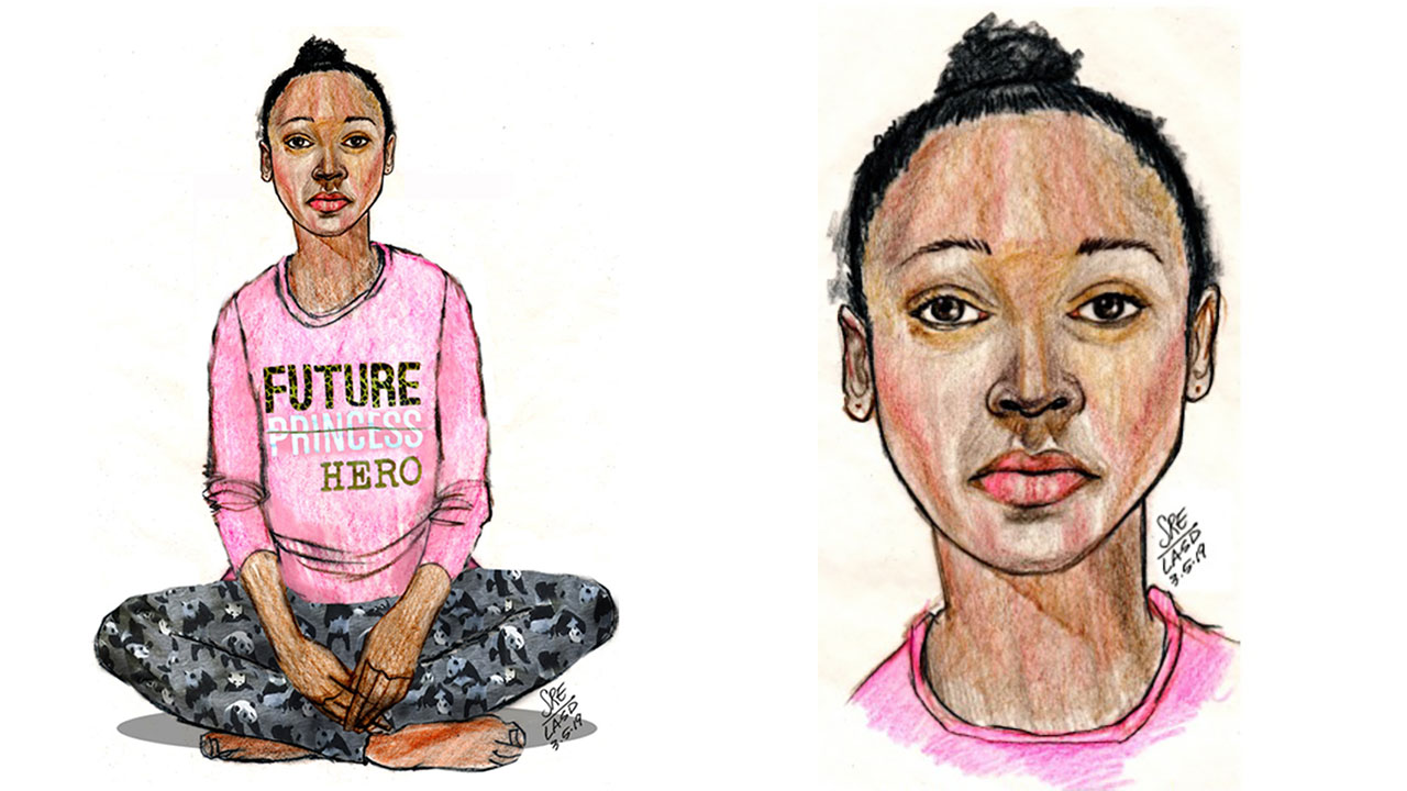 A sketch shows a girl whose body was found on a trail in Hacienda Heights on March 5, 2019.