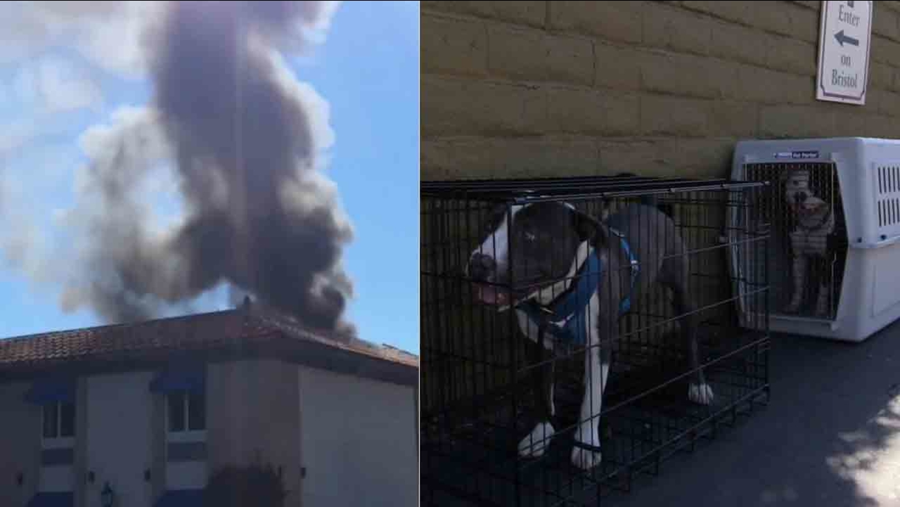 A fire broke out on the roof of the Travelodge Orange County Airport/Costa Mesa hotel in the 1400 block of Bristol Street in Costa Mesa Saturday, Feb. 14, 2015.