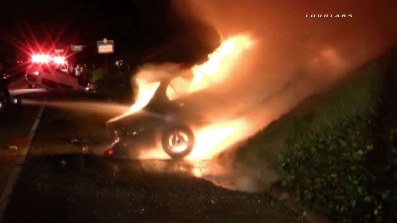 Firefighters responded to a fiery crash on the 60 Freeway in Chino on Sunday, Feb. 15, 2015.