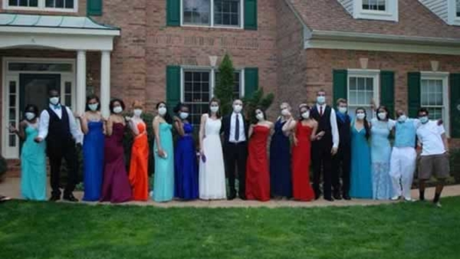teens all wear surgical masks to prom in support of friend battling