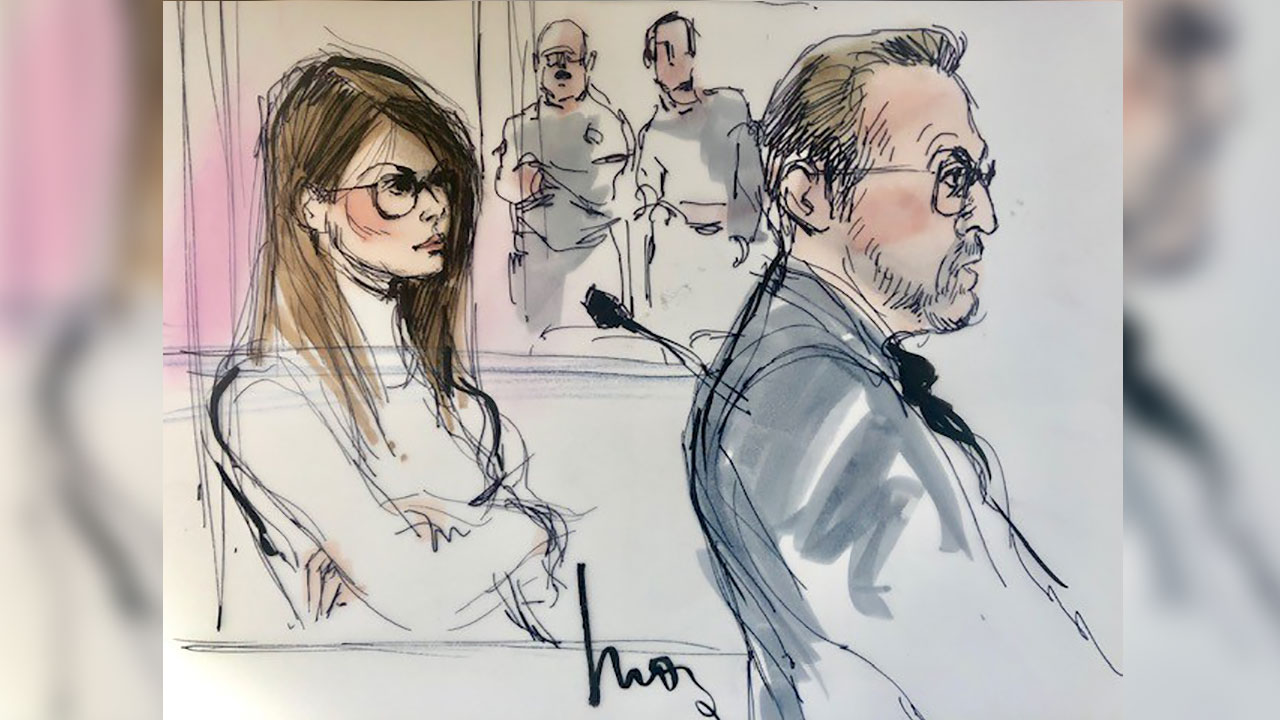 Lori Loughlin appears in a Los Angeles courtroom on Wednesday, March 13, 2019 on the college-admission bribery case.