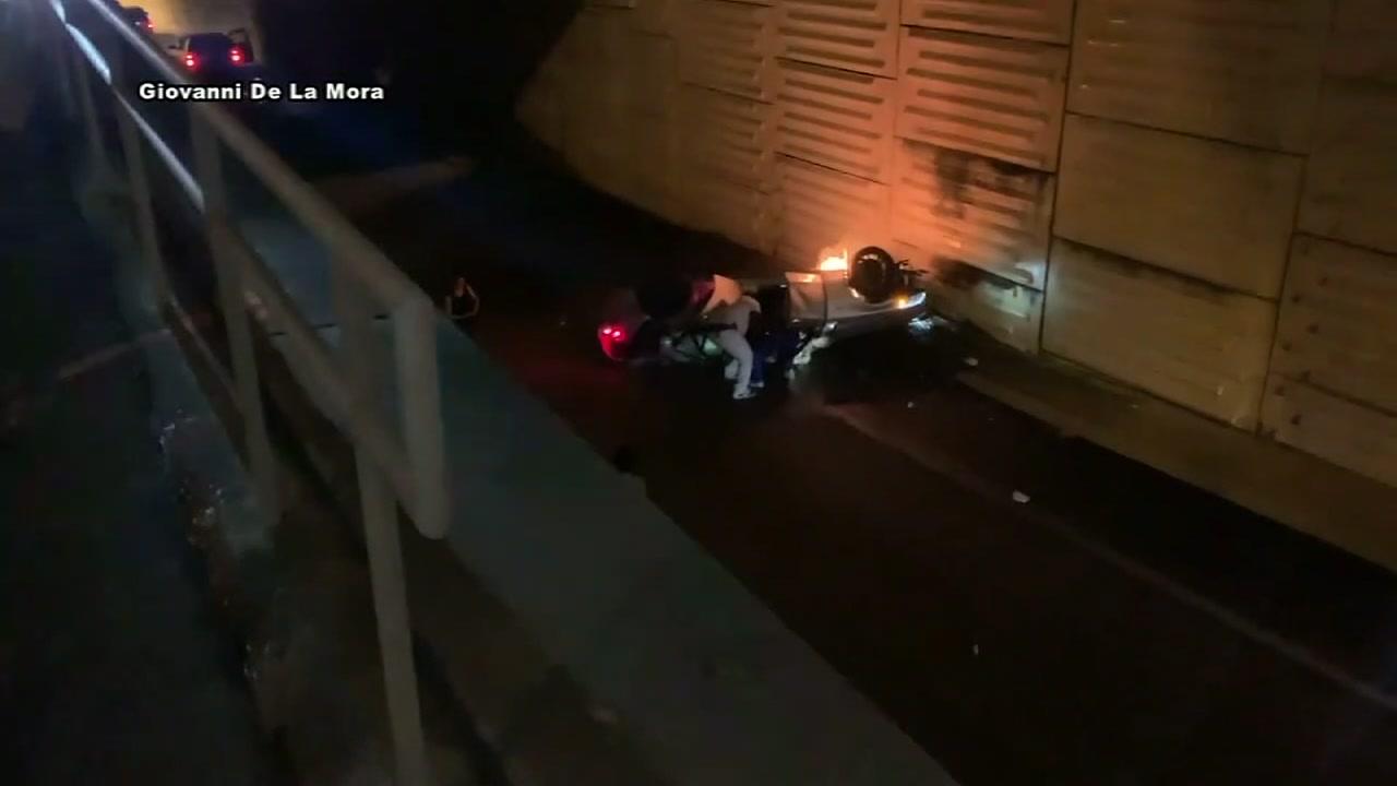 Mercedes plunges 20 feet off Post Oak, killing 2 teens