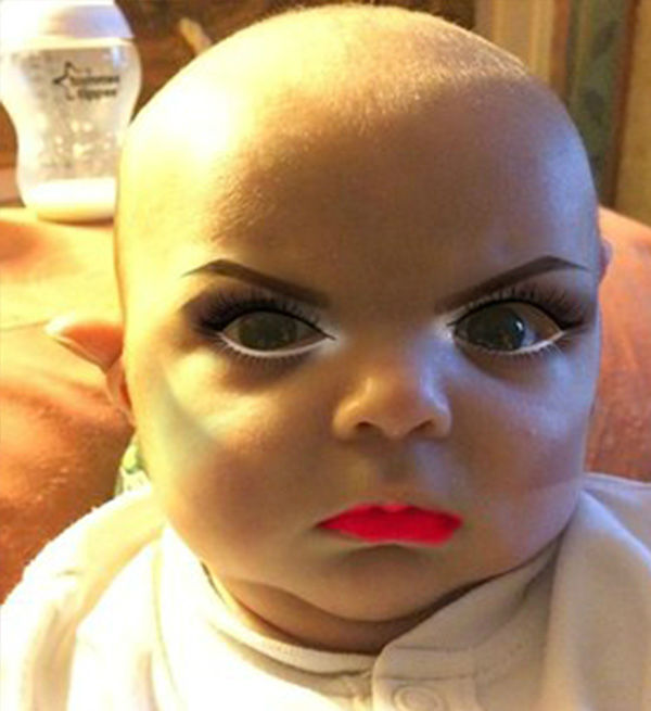 Woman uses YouCam Makeup app on her newborn baby  | abc7news com