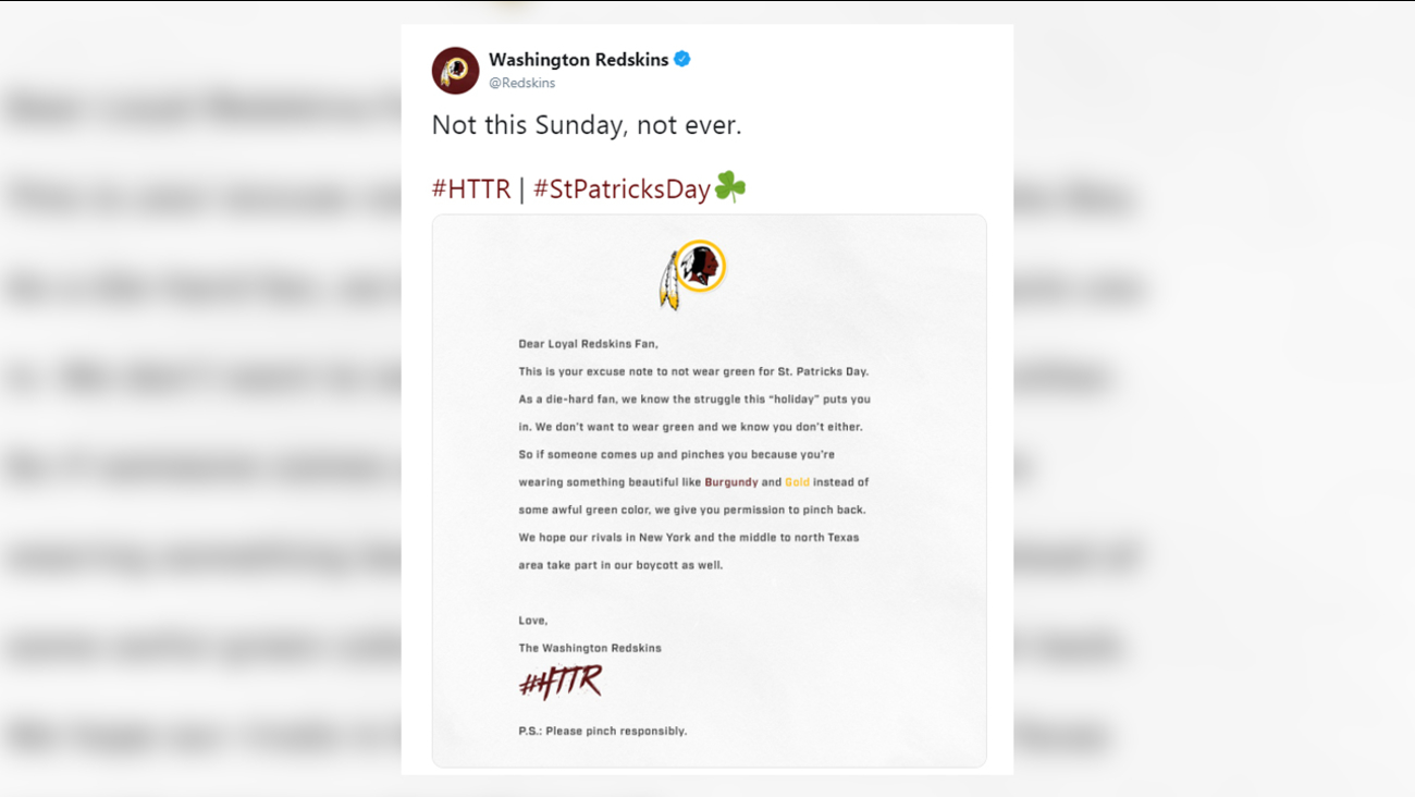 online retailer 8e0ee fca78 Redskins troll Eagles, tell fans not to wear 'awful green ...