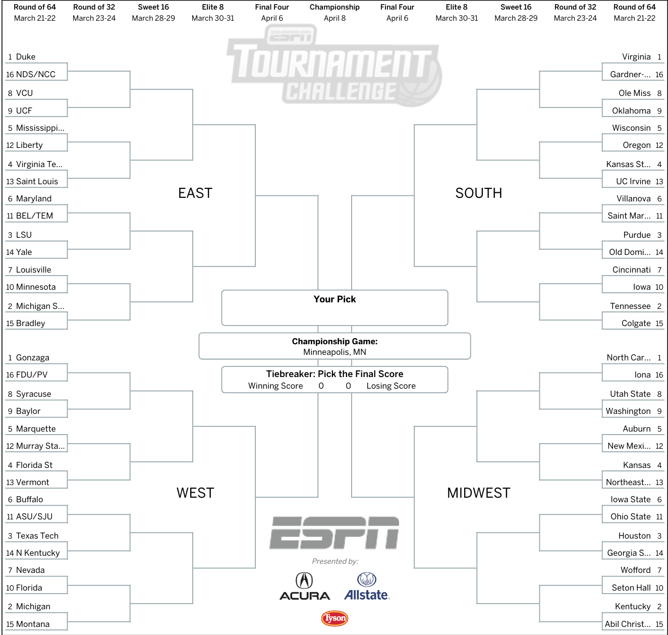 photo regarding Super Bowl Brackets Printable named March Insanity 2019: Consider your printable NCAA bracket against