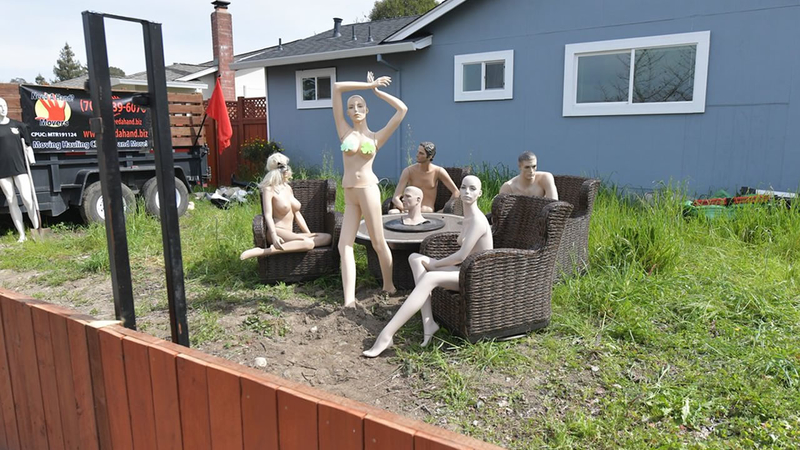 Fence dispute between neighbours ends with nude mannequins