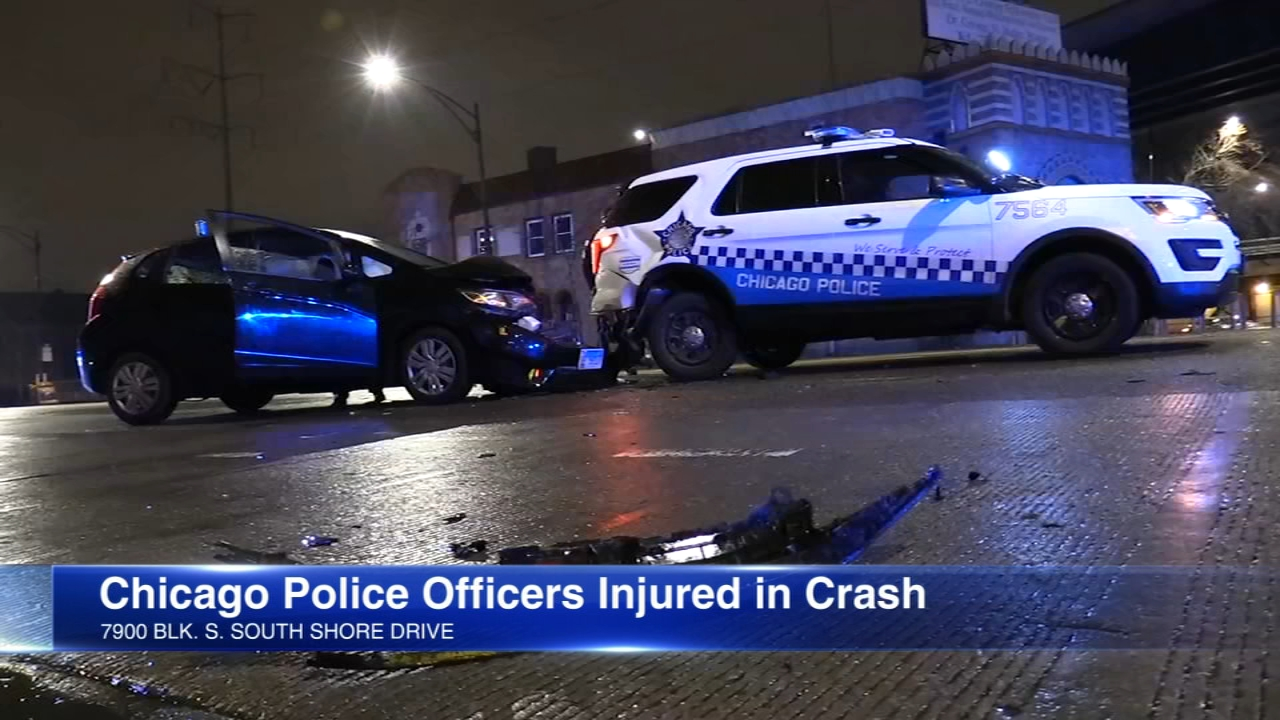 Chicago police officers rear-ended; sent to hospital