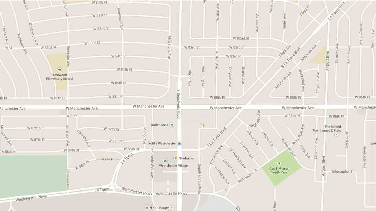 A Google Maps image indicates the area near Manchester Avenue and Sepulveda Boulevard in Westchester.