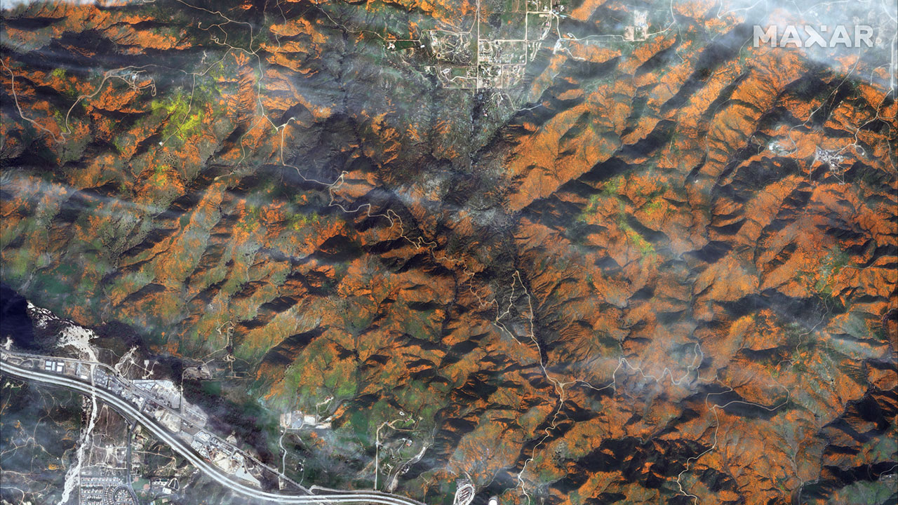 A satellite image shows Walker Canyon hillsides filled with blooming poppies.  (Satellite image ©2019 DigitalGlobe, a Maxar company)