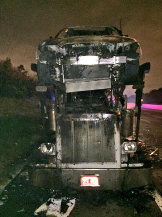 """<div class=""""meta image-caption""""><div class=""""origin-logo origin-image none""""><span>none</span></div><span class=""""caption-text"""">A car carrier caught fire on the northbound lanes of the 610 East Loop at the I-10 East Freeway (KTRK Photo)</span></div>"""