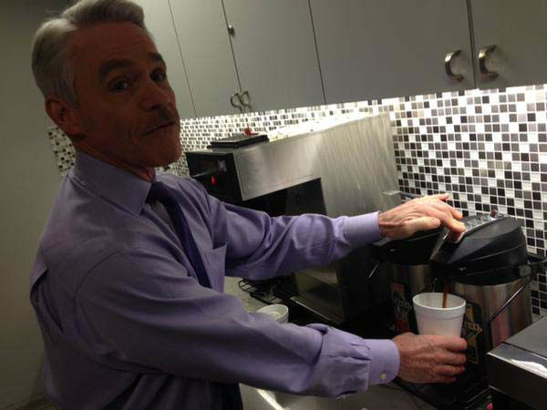 """<div class=""""meta image-caption""""><div class=""""origin-logo origin-image none""""><span>none</span></div><span class=""""caption-text"""">Tom getting his last cup of coffee before heading out to the set (KTRK Photo)</span></div>"""