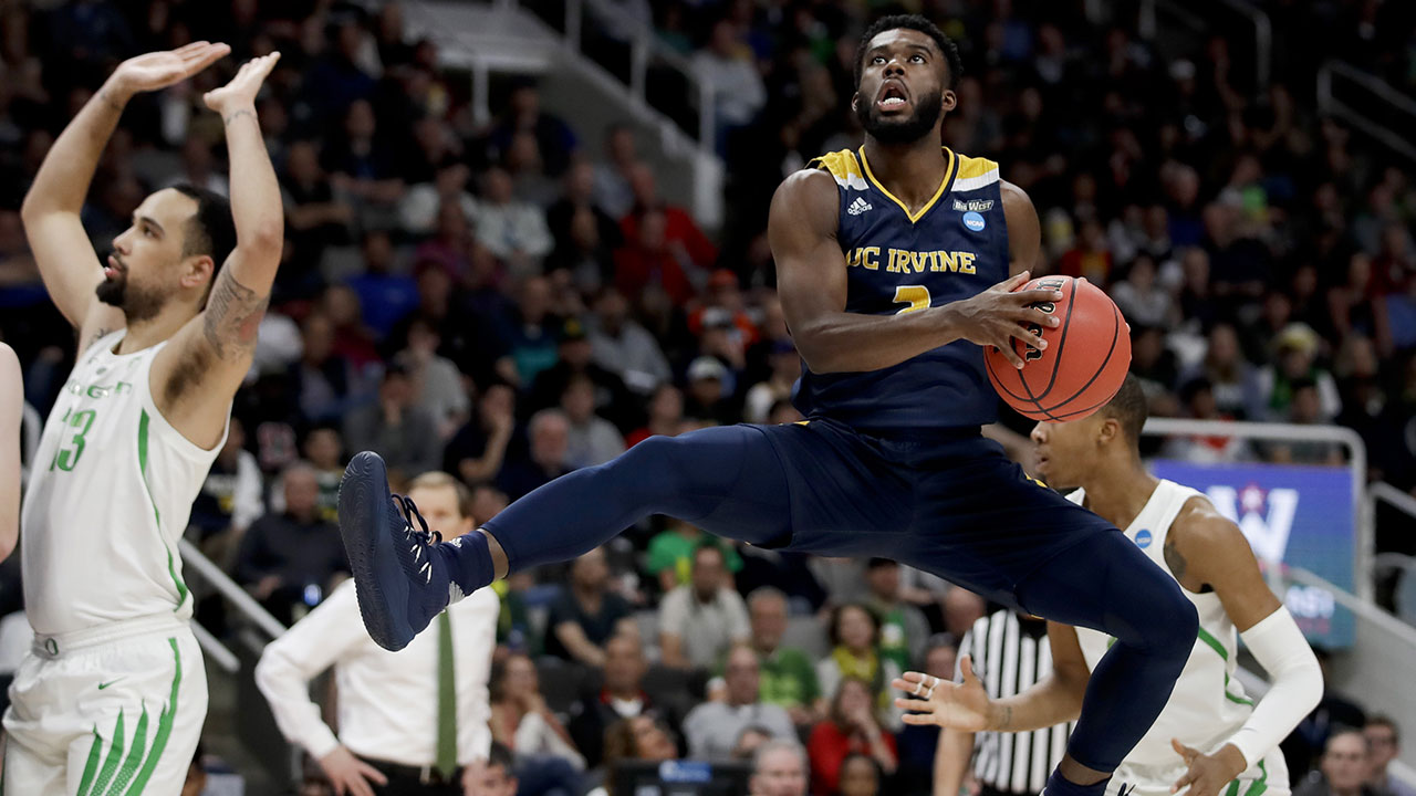 UC Irvine guard Max Hazzard jumps during a game against Oregon in the NCAA basketball tournament on Sunday, March 24, 2019 in San Jose.