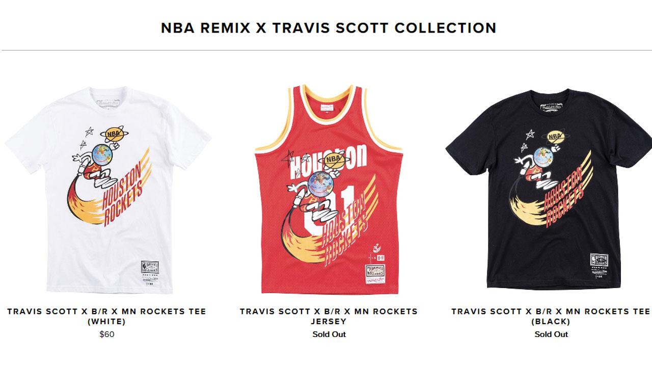 4f73b542f91 Travis Scott's remixed Rockets gear sells out in minutes | abc13.com