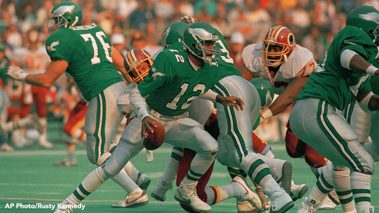 f19bdd0bd13 Philadelphia Eagles quarterback Randal Cunningham, 1987. Owner Jeffrey  Lurie said Tuesday the team's working hard to bring back the kelly green ...