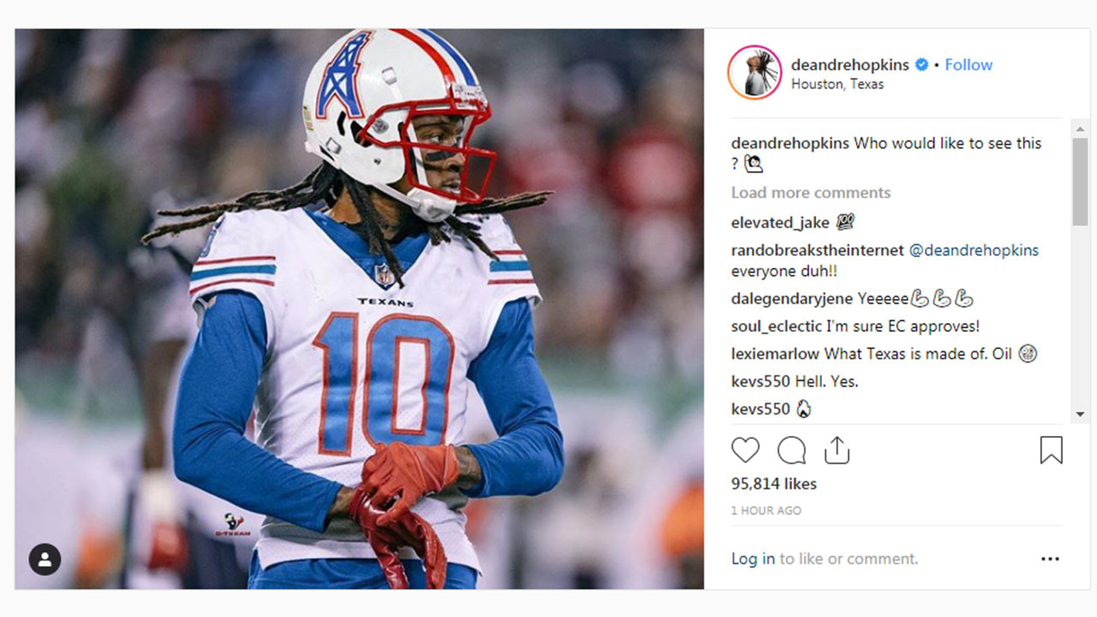 f90f8eef8c6 Texans  DeAndre Hopkins wants Oilers jersey back in Houston