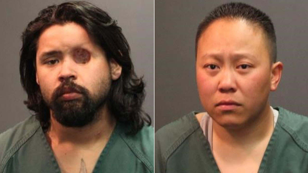 Alan Babauta, 22, and Caroline Nguyen, 31, are seen in booking photos from the Santa Ana Police Department.