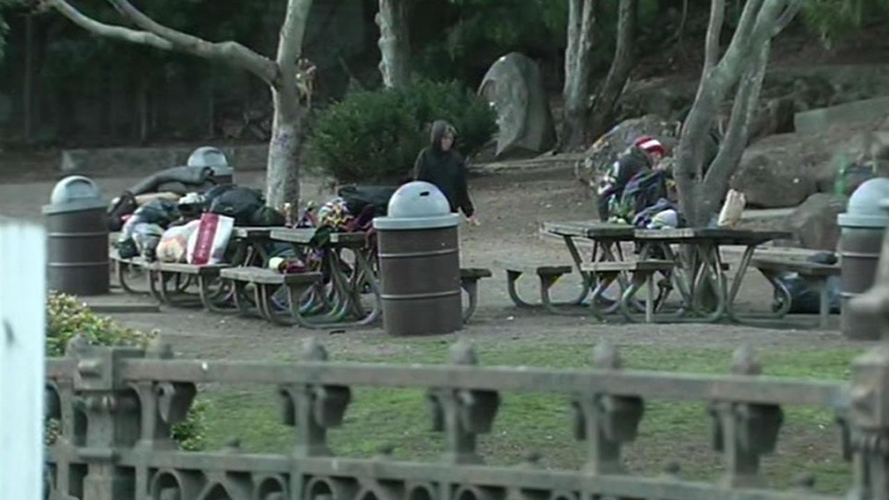 homeless people in Boyd Memorial Park