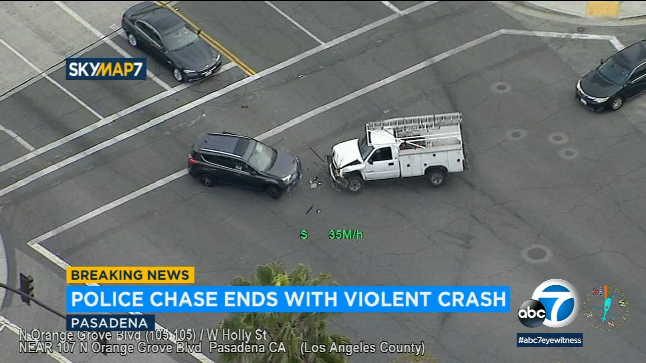 VIDEO: Chase ends in crash with civilian SUV in Pasadena