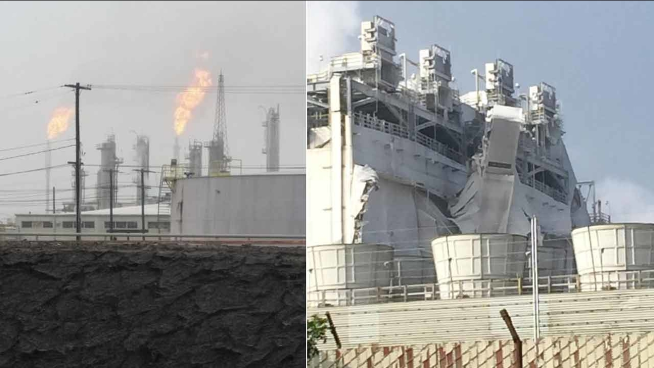 A blast was reported at the Exxon Mobil Refinery in Torrance on Wednesday, Feb. 18, 2015.