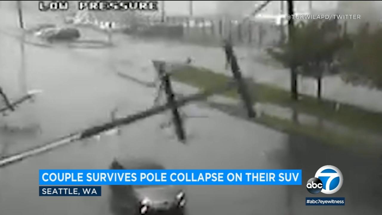 Power pole impales Seattle couple's SUV