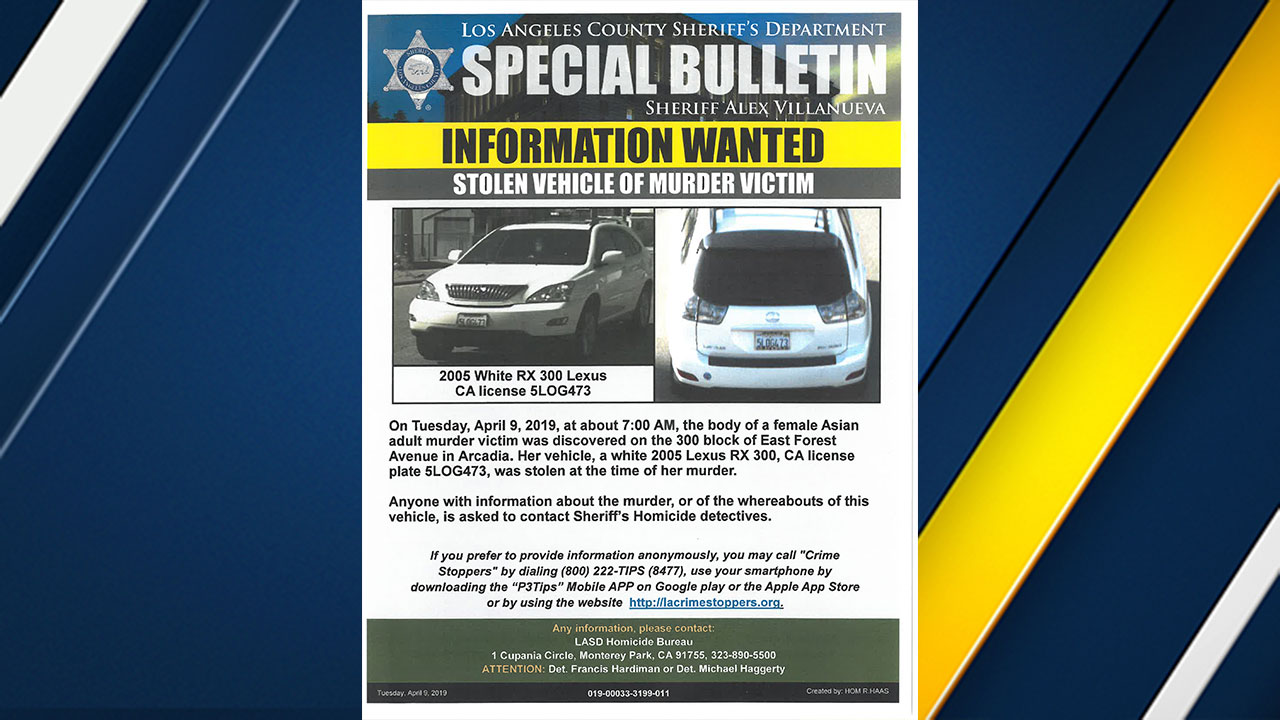 A flyer from the sheriff's department shows a stolen vehicle associated with a woman found dead in her Arcadia home on Tuesday, April 9, 2019.