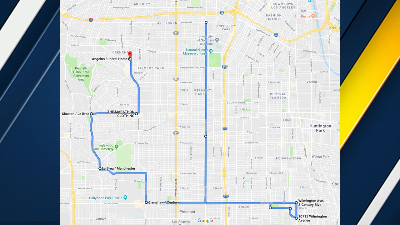 Staples Center released this map of the public procession that will follow Nipsey Hussle's Celebration of Life which starts at 10 a.m. on Thursday, April 11, 2019.