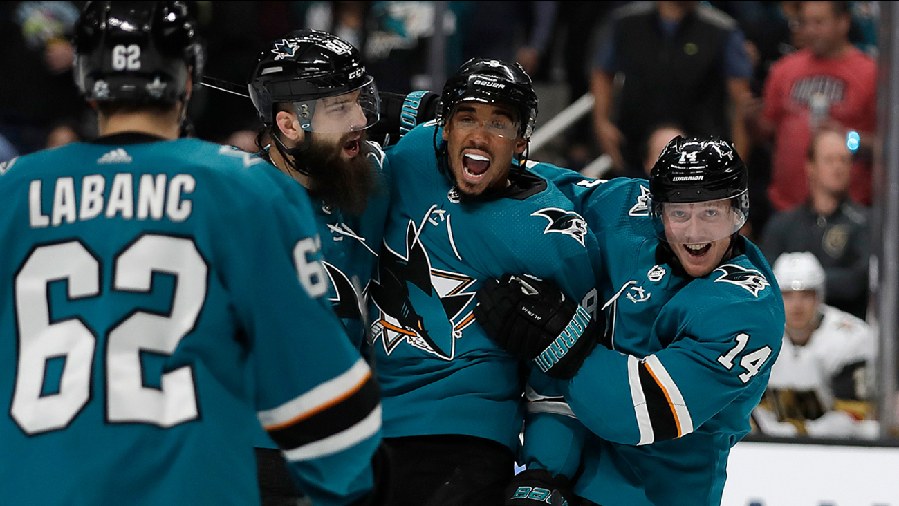 32acc5267fa From left, San Jose Sharks' Kevin Labanc (62), Brent Burns, Evander Kane,  and Gustav Nyquist (14) celebrate a goal against Vegas Knights Wednesday,  ...