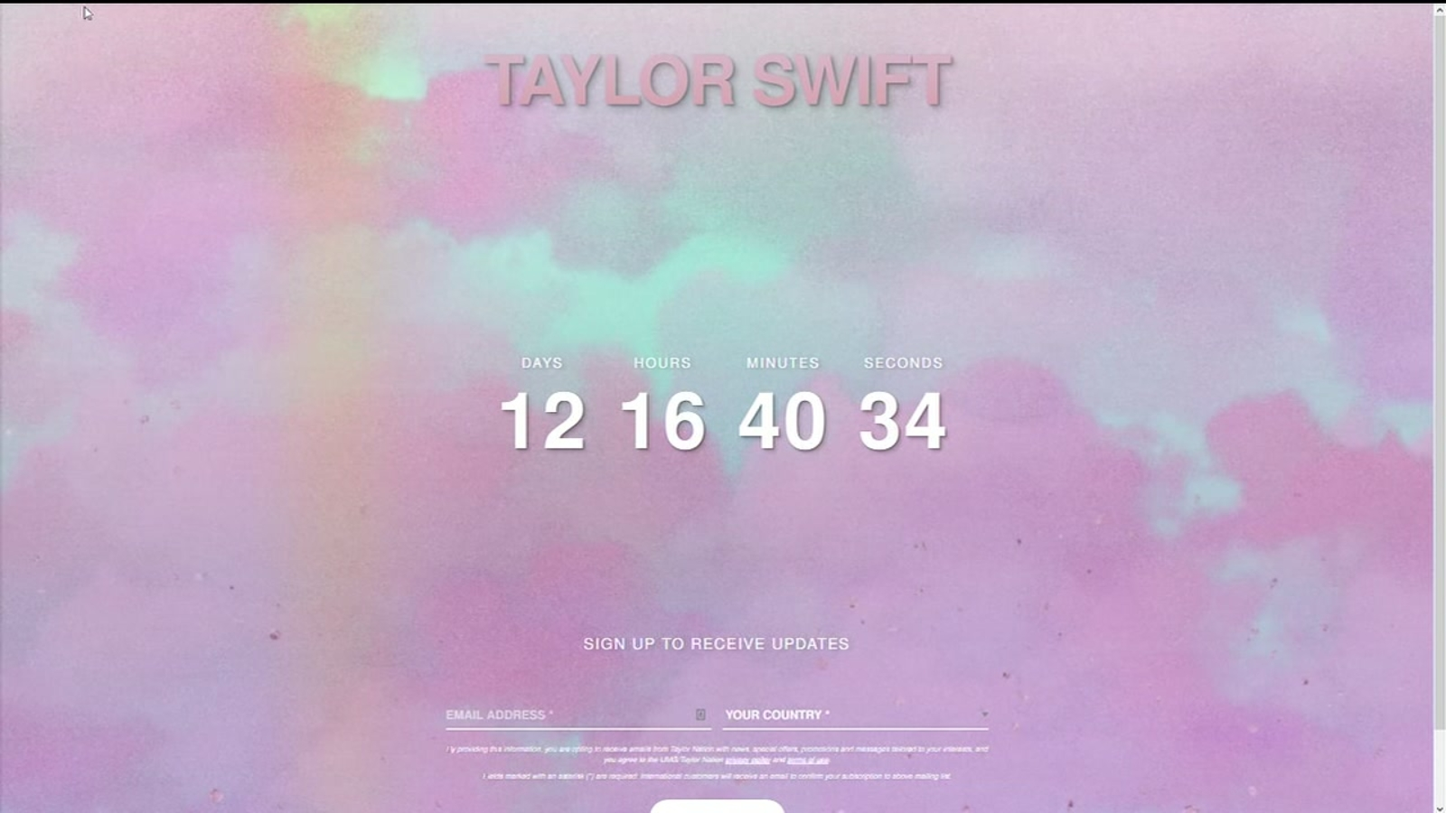 Mysterious countdown on Taylor Swift's website sends fans into a frenzy
