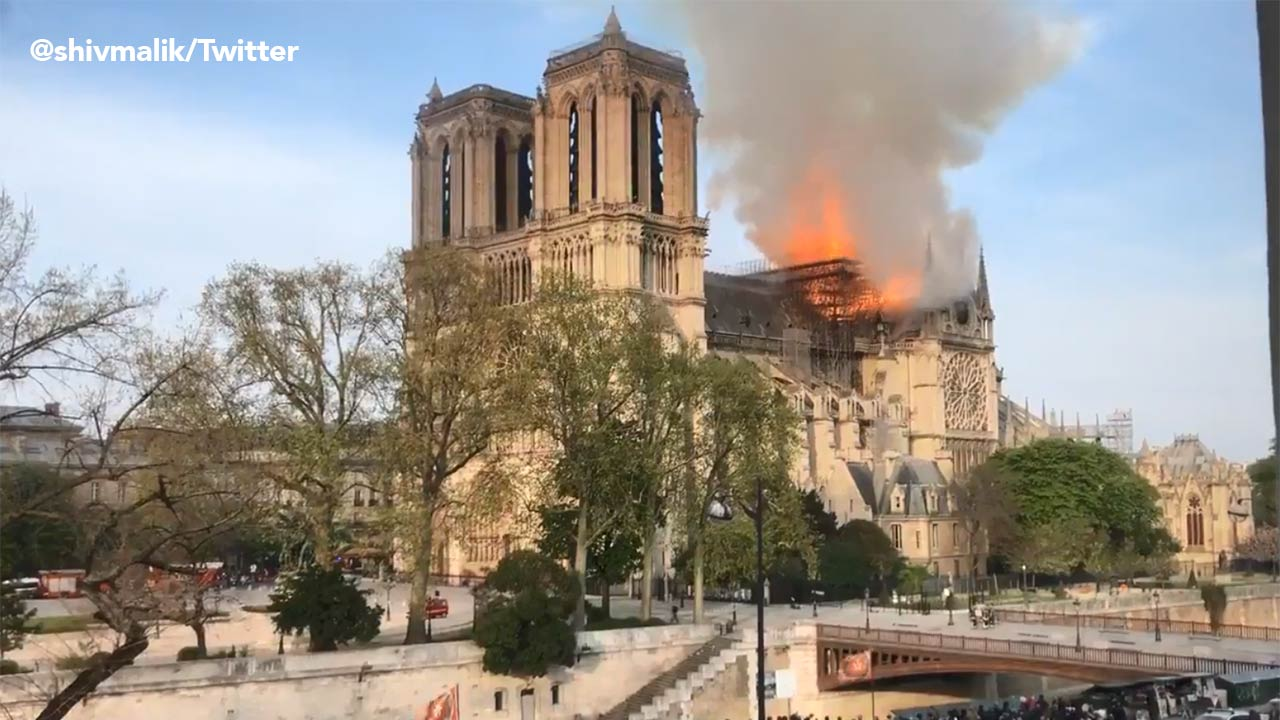 Notre Dame Fire Paris Fire Department Says Cathedral