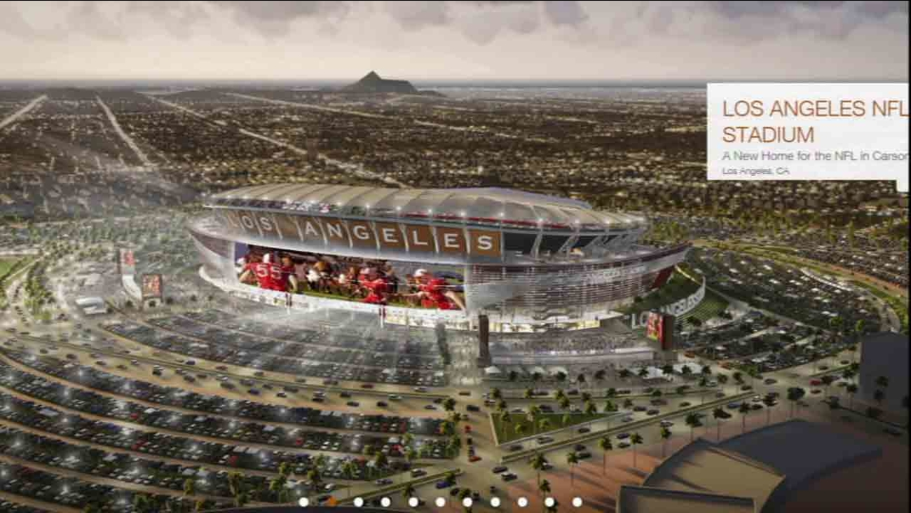 An architectural rendering of the $1.7 billion stadium proposed by the Oakland Raiders and San Diego Chargers to be potentially built in Carson.