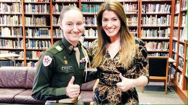 """<div class=""""meta image-caption""""><div class=""""origin-logo origin-image none""""><span>none</span></div><span class=""""caption-text"""">Natasha Barrett with Texas A&M's first female Corps commander (KTRK Photo)</span></div>"""