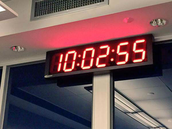 """<div class=""""meta image-caption""""><div class=""""origin-logo origin-image none""""><span>none</span></div><span class=""""caption-text"""">The new clock in the newsroom is a constant reminder of deadlines! (KTRK Photo)</span></div>"""